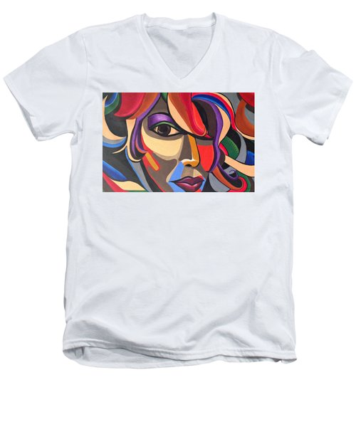 Colorful Abstract Woman Face Art, Acrylic Painting, 3d Illusion Men's V-Neck T-Shirt
