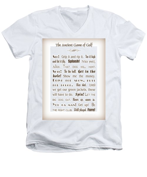 The Ancient Game Of Golf - Sepia Men's V-Neck T-Shirt