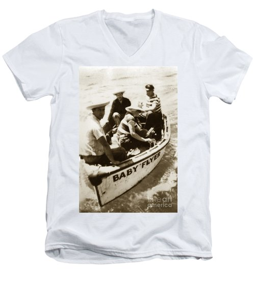 The Baby Flyer With Ed Ricketts And John Steinbeck  In Sea Of Cortez  1940 Men's V-Neck T-Shirt