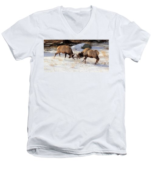 Men's V-Neck T-Shirt featuring the photograph The Battle by Shane Bechler