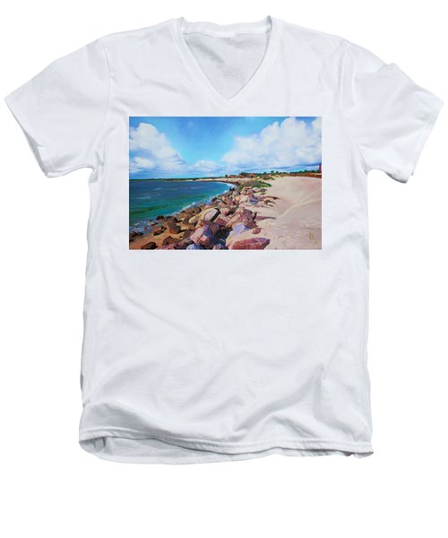 The Beach At Ponce Inlet Men's V-Neck T-Shirt