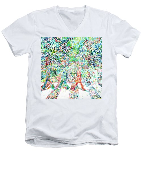 The Beatles - Abbey Road - Watercolor Painting Men's V-Neck T-Shirt
