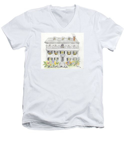 The Beekman Arms In Rhinebeck Men's V-Neck T-Shirt by AFineLyne