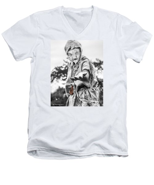 Men's V-Neck T-Shirt featuring the photograph The Begging Leprous by Stwayne Keubrick