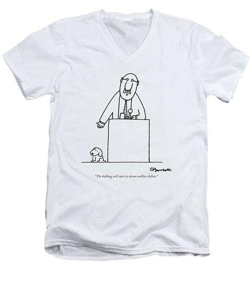 The Bidding Will Start At Eleven Million Dollars Men's V-Neck T-Shirt by Charles Barsotti