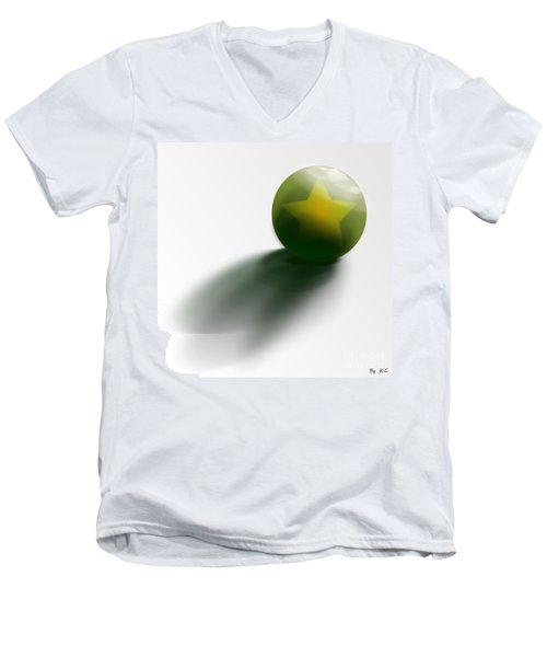 Men's V-Neck T-Shirt featuring the digital art Green Ball Decorated With Star White Background by R Muirhead Art