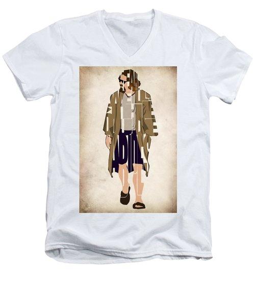 The Big Lebowski Inspired The Dude Typography Artwork Men's V-Neck T-Shirt by Ayse Deniz