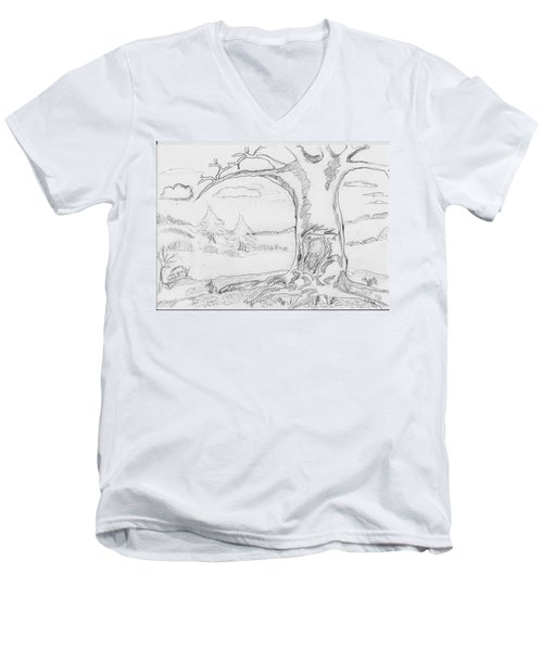 Men's V-Neck T-Shirt featuring the painting The Big Oak  by Felicia Tica