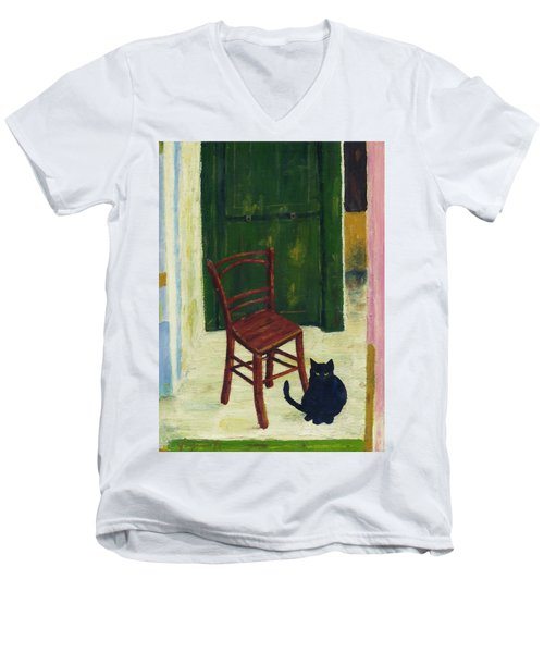 The  Black Cat Men's V-Neck T-Shirt by Hartmut Jager
