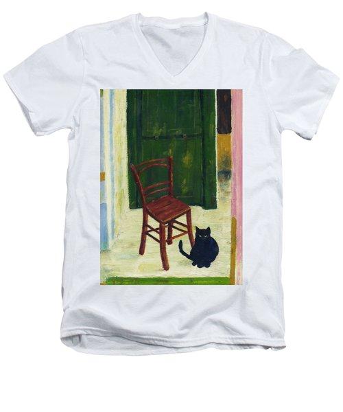 The  Black Cat Men's V-Neck T-Shirt