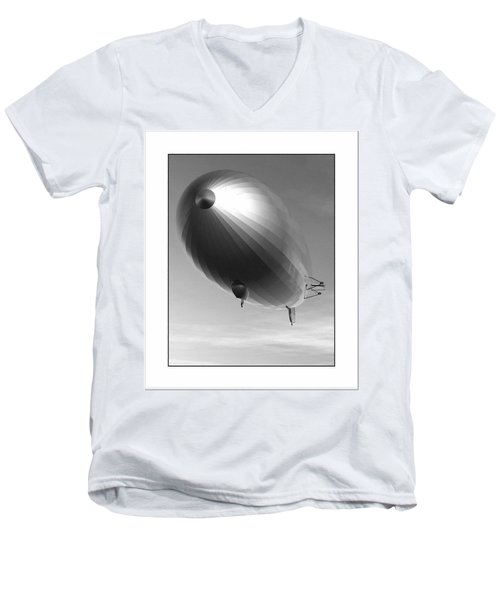 Men's V-Neck T-Shirt featuring the digital art The Blimp... by Tim Fillingim