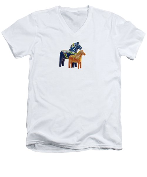 The Blue And Red Dala Horse Men's V-Neck T-Shirt by Torbjorn Swenelius