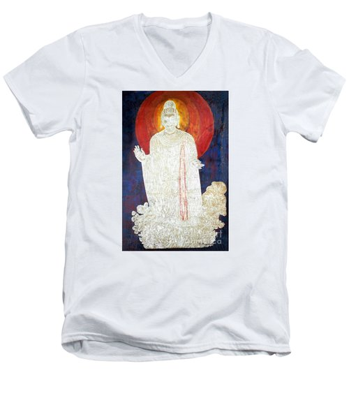 Men's V-Neck T-Shirt featuring the painting The Buddha's Light by Fei A