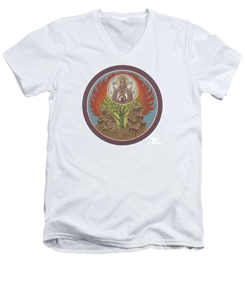 Men's V-Neck T-Shirt featuring the painting The Burning Bush 249 by William Hart McNichols