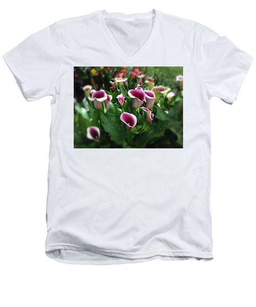The Calla Lilies Are In Bloom Again Men's V-Neck T-Shirt by Mark David Gerson