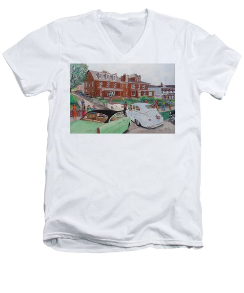 The Car Movers Of Phi Sigma Kappa Osu 43 E. 15th Ave Men's V-Neck T-Shirt by Frank Hunter