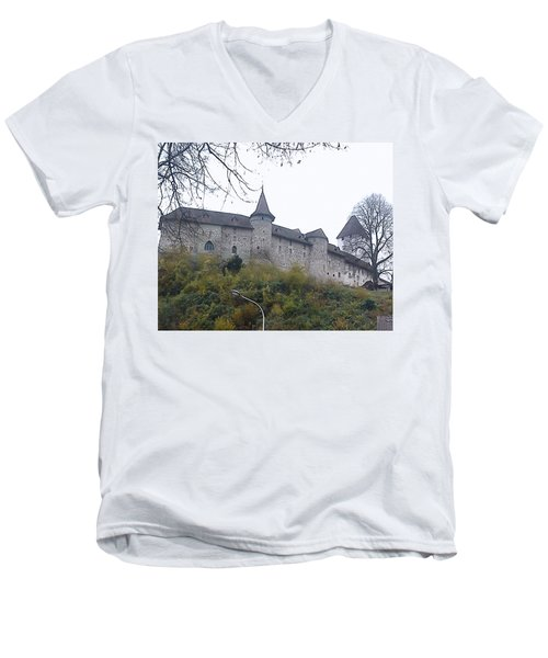 Men's V-Neck T-Shirt featuring the photograph The Castle In Autumn by Felicia Tica