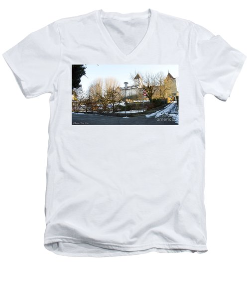 Men's V-Neck T-Shirt featuring the photograph The Castle In Winter Light by Felicia Tica