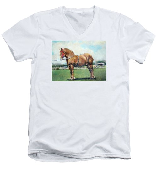 Men's V-Neck T-Shirt featuring the painting The Champ by Donna Tucker
