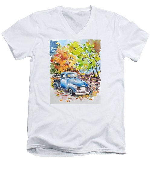 The Old Chevy In Autumn Men's V-Neck T-Shirt