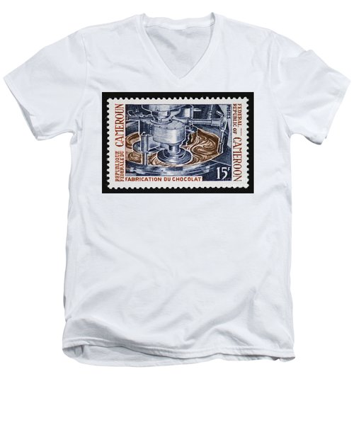 The Chocolate Factory Vintage Postage Stamp Men's V-Neck T-Shirt by Andy Prendy