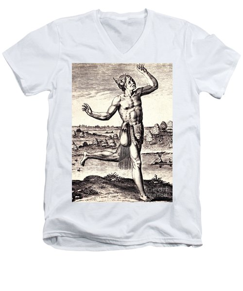 Men's V-Neck T-Shirt featuring the drawing The Conjurers Use Strange Gestures by Peter Gumaer Ogden