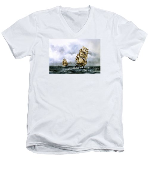 The Cutty Sark And The Red Clipper Men's V-Neck T-Shirt