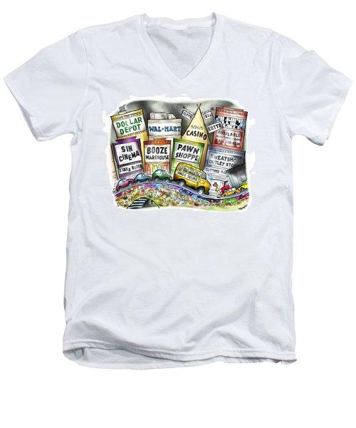 The Delights Of Modern Civilization Men's V-Neck T-Shirt