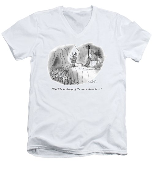 The Devil Speaks To A Bagpiper In Hell Men's V-Neck T-Shirt