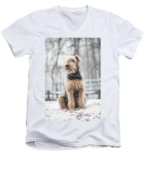 The Dog Under The Snowfall Men's V-Neck T-Shirt
