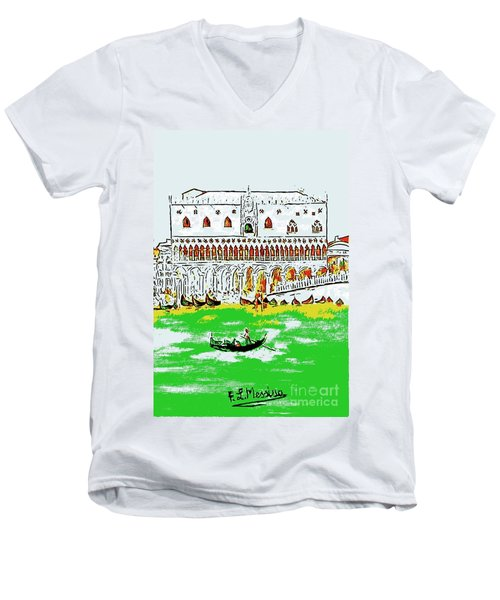 Men's V-Neck T-Shirt featuring the painting The Doge's Palace by Loredana Messina