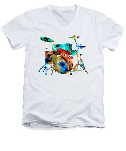 The Drums - Music Art By Sharon Cummings Men's V-Neck T-Shirt