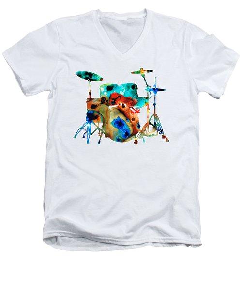 The Drums - Music Art By Sharon Cummings Men's V-Neck T-Shirt