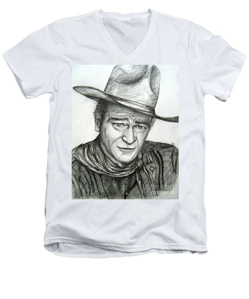 Men's V-Neck T-Shirt featuring the drawing The Duke John Wayne by Patrice Torrillo