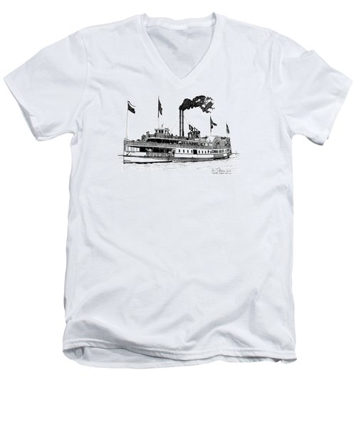 Men's V-Neck T-Shirt featuring the drawing The Emma Giles by Ira Shander