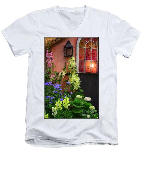 The English Cottage Window Men's V-Neck T-Shirt by Dora Sofia Caputo Photographic Art and Design