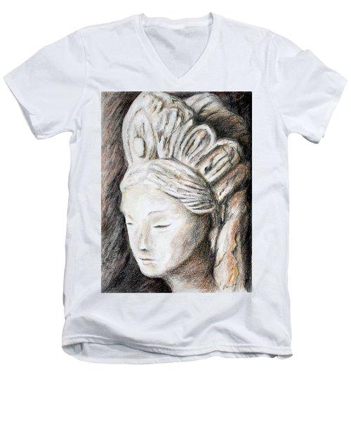 The Face Of Quan Yin Men's V-Neck T-Shirt