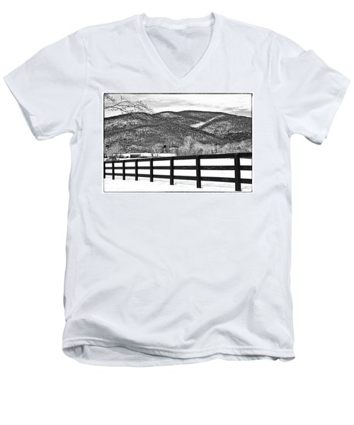 The Fenceline B W Men's V-Neck T-Shirt