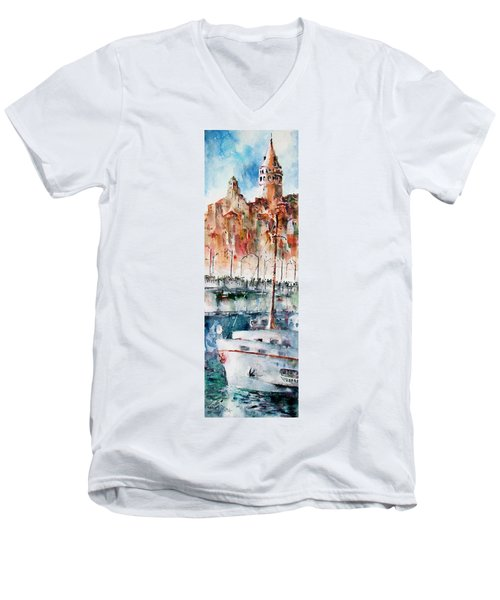 Men's V-Neck T-Shirt featuring the painting The Ferry Arrives At Galata Port - Istanbul by Faruk Koksal
