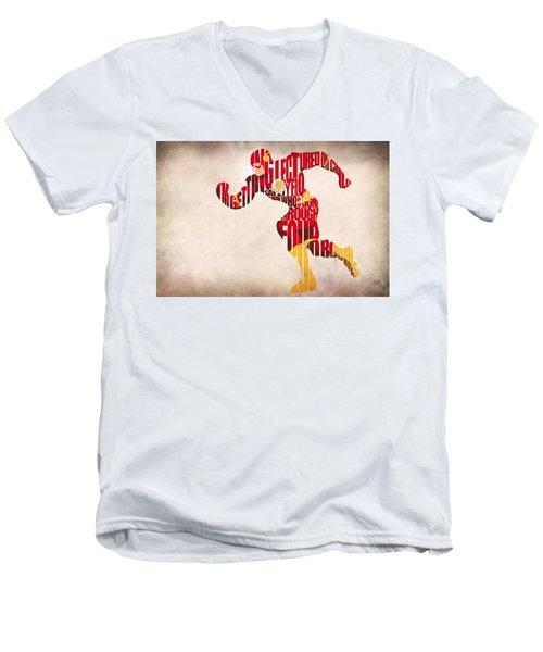 The Flash Men's V-Neck T-Shirt by Ayse Deniz