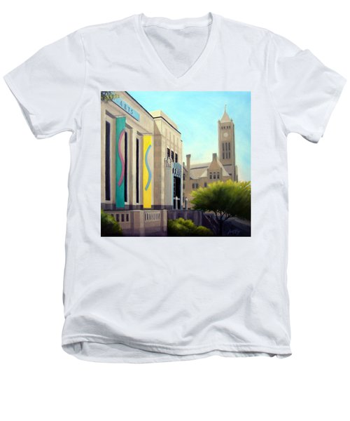 Men's V-Neck T-Shirt featuring the painting The Frist Center by Janet King