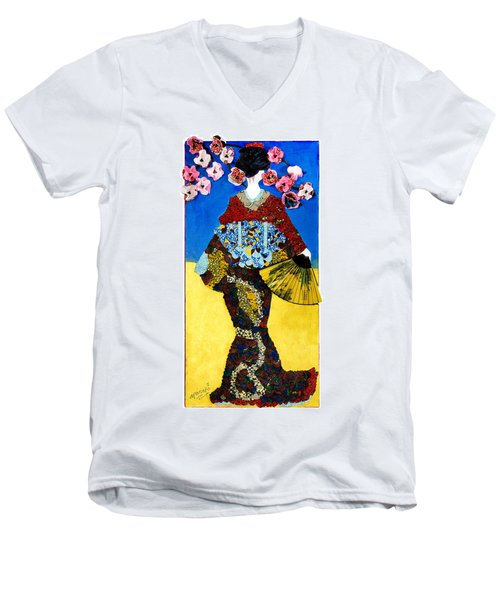 Men's V-Neck T-Shirt featuring the tapestry - textile The Geisha by Apanaki Temitayo M
