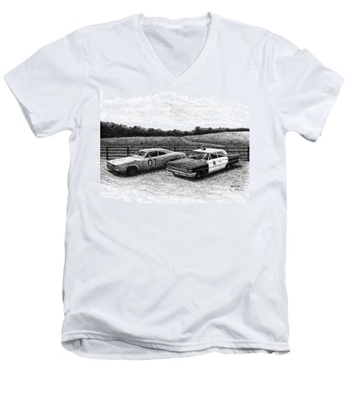 Men's V-Neck T-Shirt featuring the drawing The General Lee And Barney Fife's Police Car by Janet King