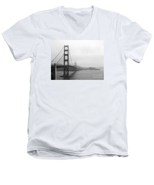 The Golden Gate Bridge In Classic B W Men's V-Neck T-Shirt by Connie Fox