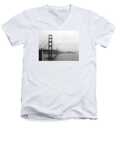 The Golden Gate Bridge In Classic B W Men's V-Neck T-Shirt