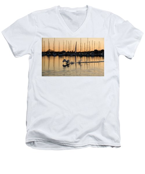 The Golden Takeoff - Swan Sunset And Yachts At A Marina In Toronto Canada Men's V-Neck T-Shirt