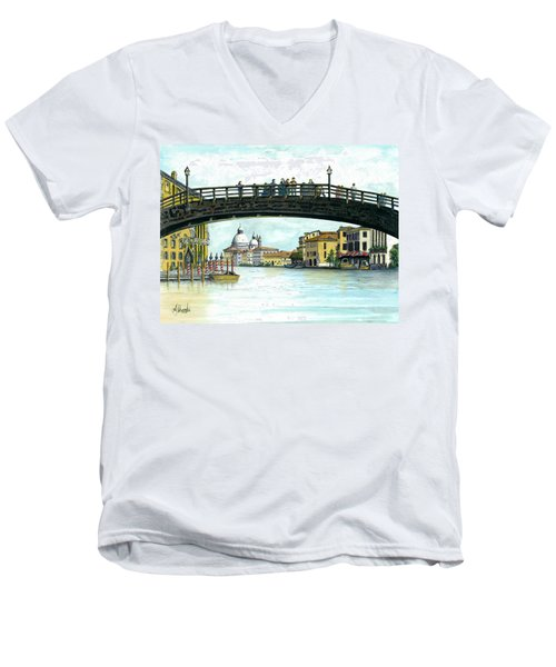 Men's V-Neck T-Shirt featuring the painting The Grand Canal Venice Italy by Albert Puskaric