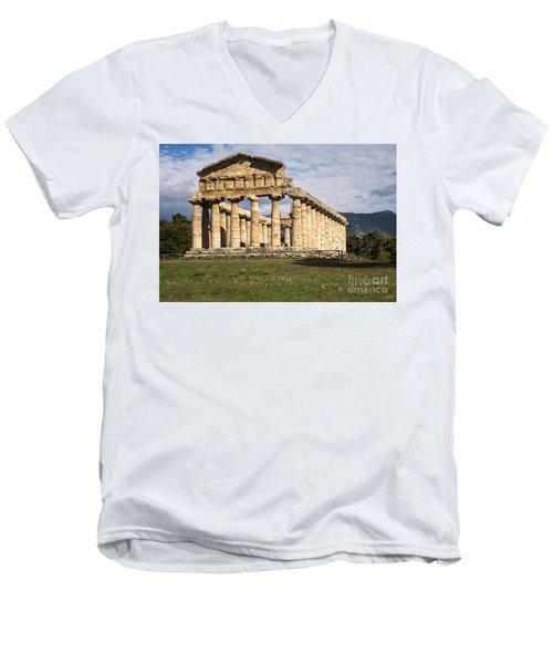 The Greek Temple Of Athena Men's V-Neck T-Shirt