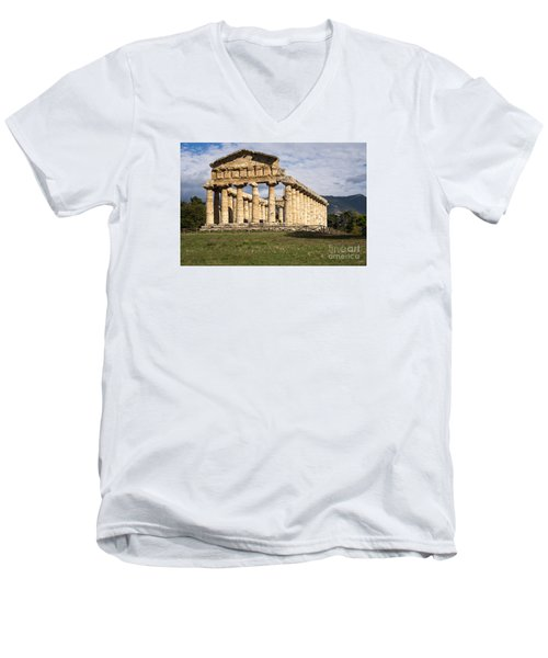 The Greek Temple Of Athena Men's V-Neck T-Shirt