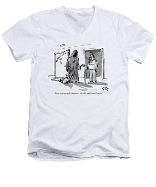 The Grim Reaper Brings A Small Puppy Men's V-Neck T-Shirt